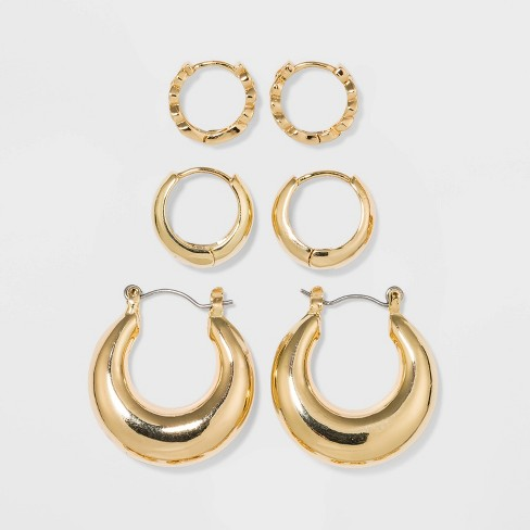 Shiny Gold Trio Hoop Earring Set 3pc - Wild Fable™ Gold - image 1 of 2