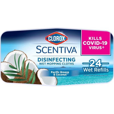 Clorox Scentiva Disinfecting Wet Mopping Cloths - Pacific Breeze & Coconut - 24ct