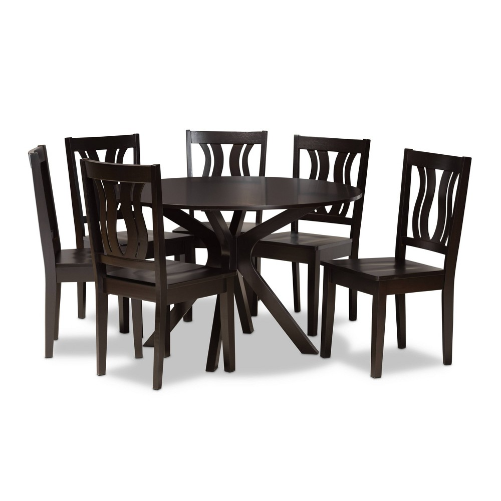 7pc Mare Transitional Wood Dining Set Brown Baxton Studio