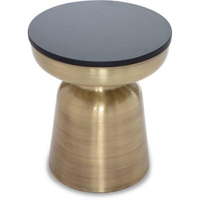 Adler Brass Metal Side Table Black/Gold - Finch