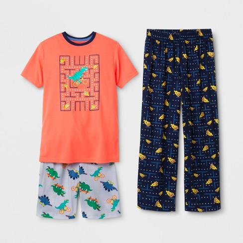 Boys  3pc Dinosaur Pizza Tetris Printed Pajama Set - Cat   Jack™ Orange adc3bba31