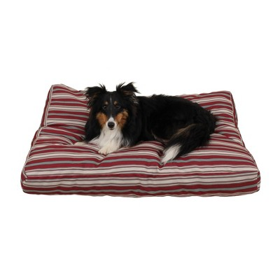Carolina Pet Company Striped Faux Gusset Jamison Dog Bed - Red