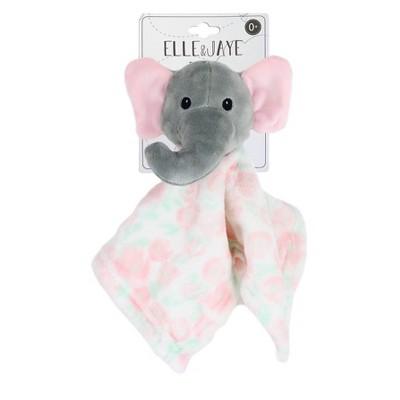 Elle & Jaye Security Blanket Pink Floral Elephant Printed Lovey