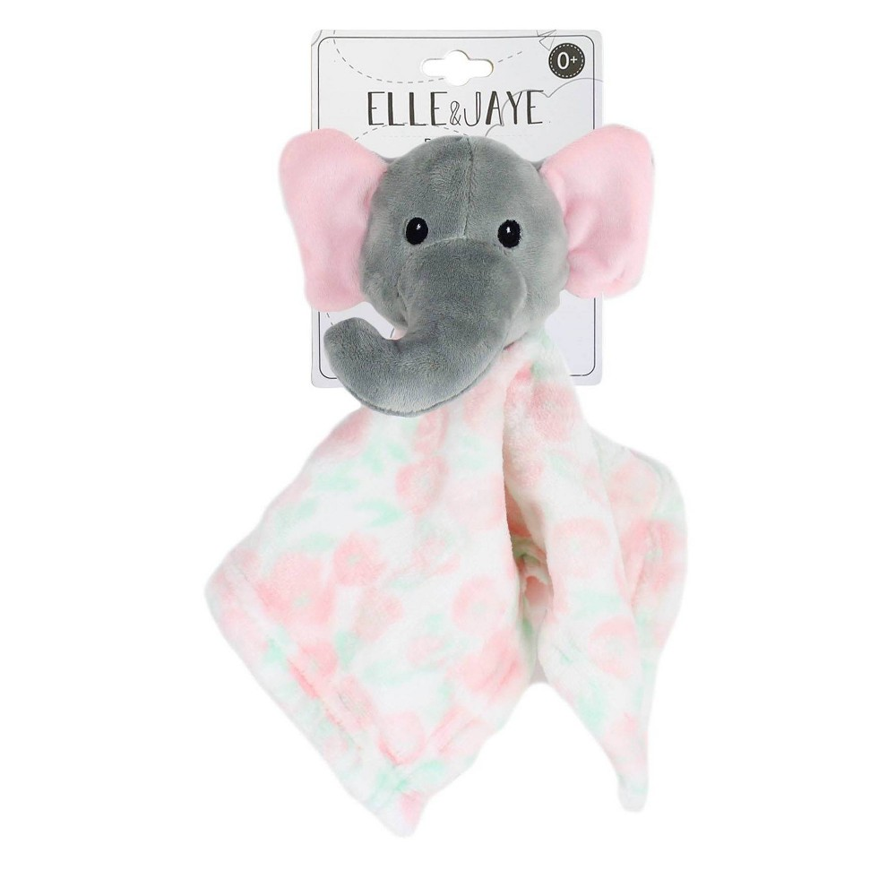 Image of Elle & Jaye Security Blanket Pink Floral Elephant Printed Lovey