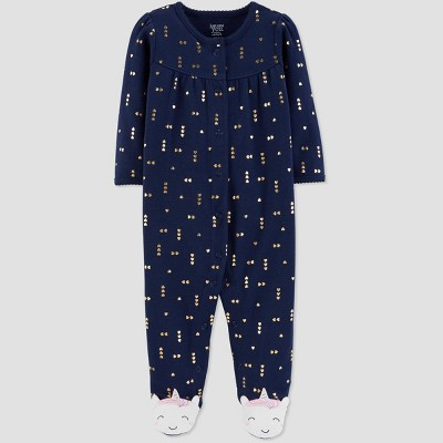 Baby Girls' Sleep 'N Play Unicorn 1pc Pajama - Just One You® made by carter's Navy 3M