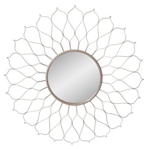 "38"" Flower Petal Sunburst Wall Accent Mirror Silver - Patton Wall Decor - image 1 of 4"