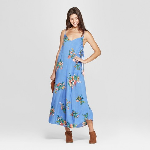 15ca8e8cdfd Women s Floral Print Strappy Square Neck Waist Tie Cropped Jumpsuit -  Xhilaration™ Light Blue