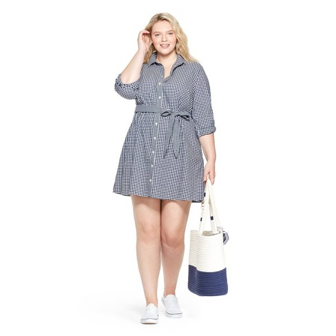 d92d6092ad3943 Women s Plus Size Gingham Long Sleeve Shirtdress - Navy White - vineyard  vines® for Target. Shop collectionsShop all vineyard vines for Target