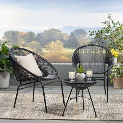 Nusa 3pc Faux Rattan Patio Chat Set Black - Christopher Knight Home