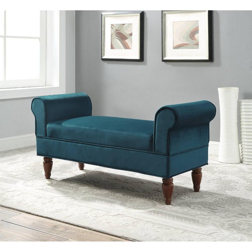 Lillian Velvet Bench Teal (Blue) - Linon Lillian Velvet Bench Teal - Linon Gender: Unisex. Pattern: Solid.