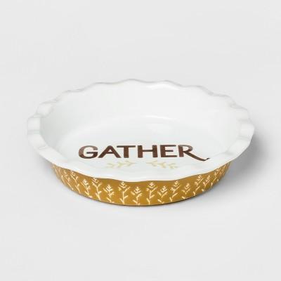 10.4  Ceramic Gather Pie Pan White/Yellow - Threshold™