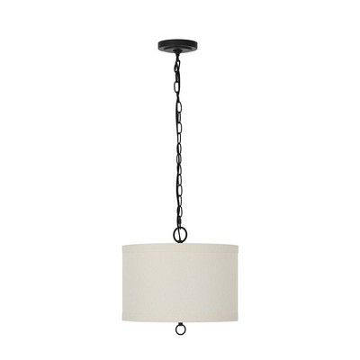 "12.75"" 1-Light Fabric Shade Pendant (Includes Light Bulb) - Cresswell Lighting"