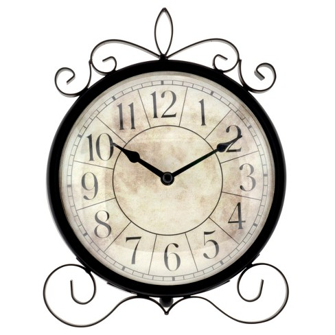 "8.5"" Parchment Dial Wrought Iron Metal Wall Clock - image 1 of 2"