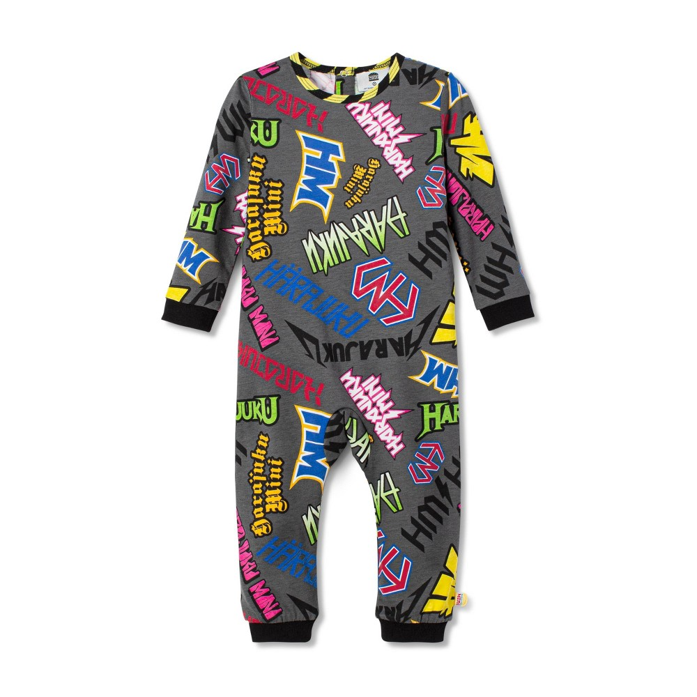 Image of Baby Boys' Graffiti Print Long Sleeve Crewneck Bodysuit - Harajuku Mini for Target Gray 12M, Men's
