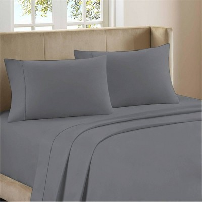 Queen 400 Thread Count Ultimate Percale Cotton Solid Sheet Set Dark Gray - Purity Home