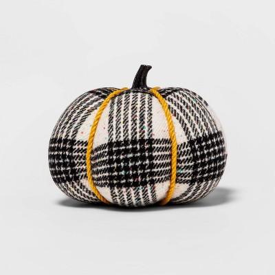 "5.5"" Harvest Black Tweed/Plaid Speckle Fabric Wrapped Pumpkin - Hyde & EEK! Boutique™"