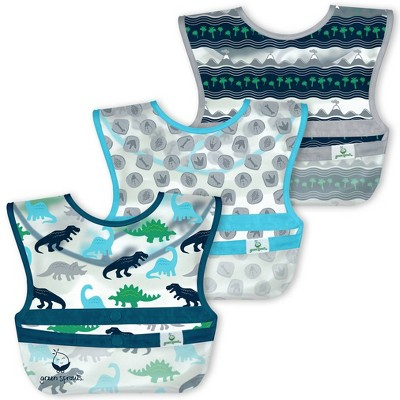 Green Sprouts Snap & go Wipe-off Bibs Blue Dinosaurs 9-18M - 3pk