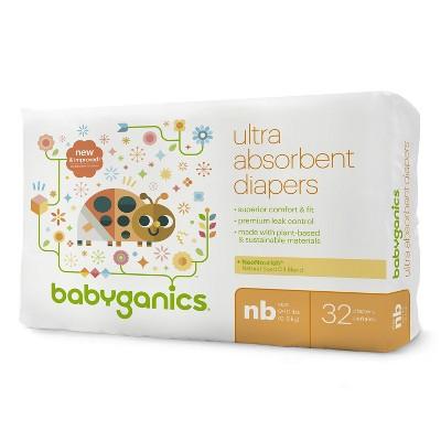 Babyganics Diapers Jumbo Bag - Newborn (32 ct)
