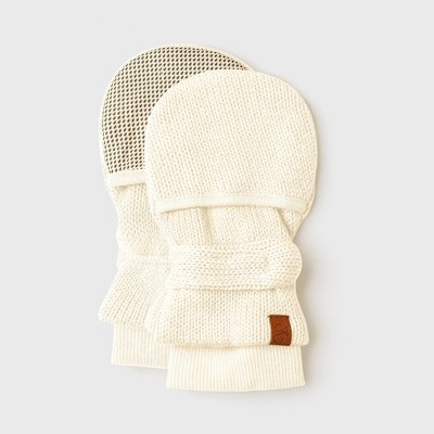 Goumi Baby Organic Cotton Knit Mittens - Off-White 0-3M