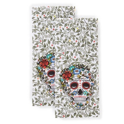 "2pk 16""X28"" Skull & Vine Kitchen Towels - Fiesta"