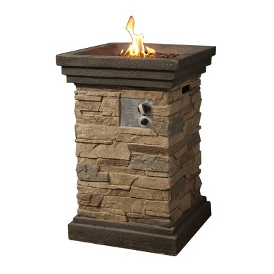 """20"""" Outdoor Square Slate Rock Propane Gas Fire Pit with Steel Base - Peaktop"""