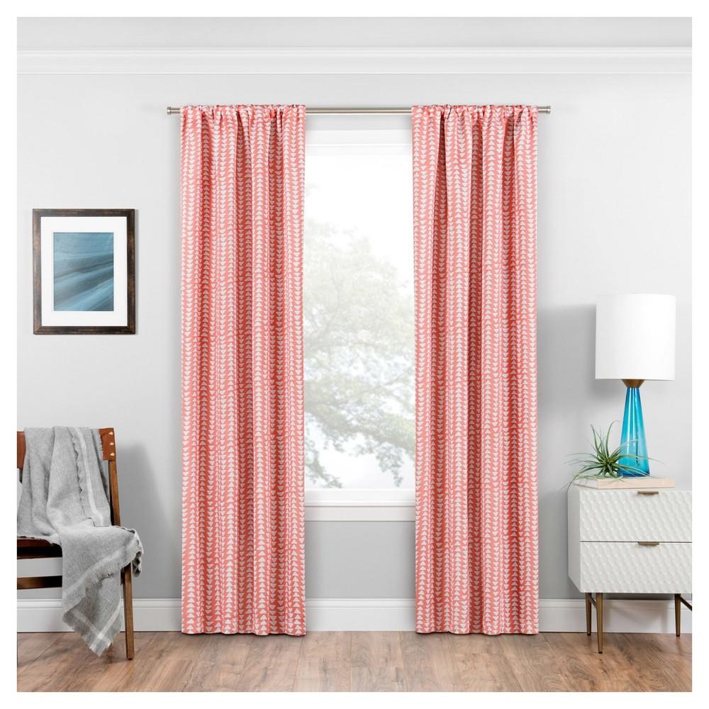 Naya Thermaweave Blackout Curtain Panel Geometric Coral (Pink) (37