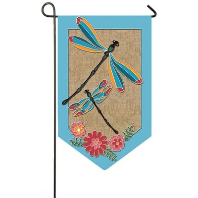 Evergreen Dragonflies and Flowers Shaped Burlap Garden Flag