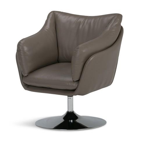 Jasper Air Faux Leather Swivel Chair Taupe Simpli Home