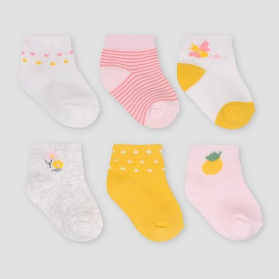 Baby Girls' 6pk Lemon Ankle Socks - Just One You® made by carter's 0-3M
