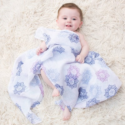 Aden by Aden + Anais Muslin Swaddle - Pretty Pink - Gray