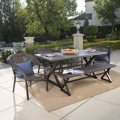 Kensington 6pc Aluminum and Wicker Dining Set - Brown - Christopher Knight Home