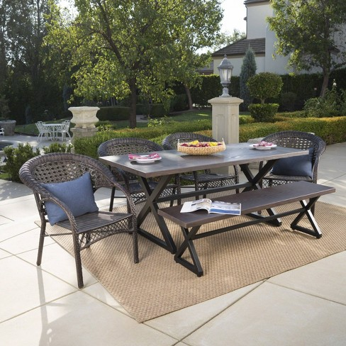 Kensington 6pc Aluminum and Wicker Dining Set - Brown - Christopher Knight Home - image 1 of 4