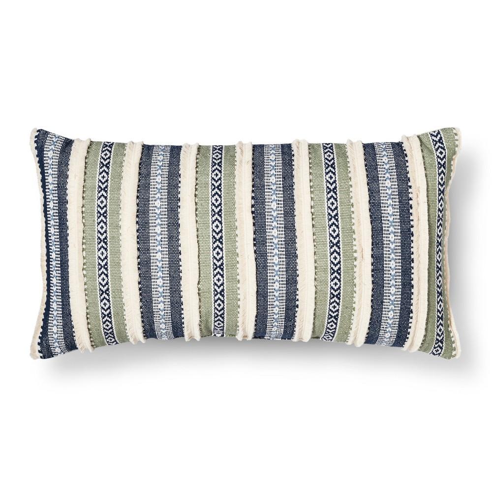 Blue/Green Throw Pillow Stripe Oversized Oblong - Threshold, Sour Cream
