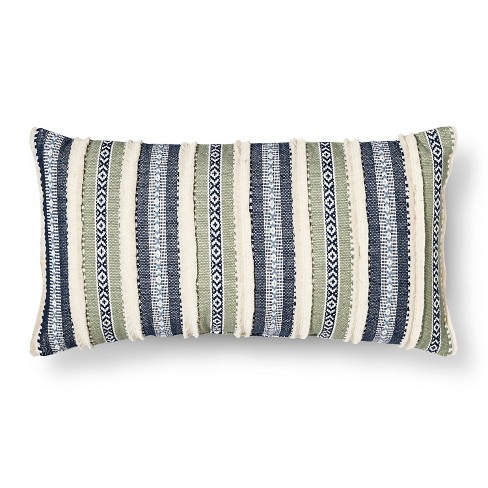 Blue/Green Throw Pillow Stripe Oversized Oblong - Threshold™ - image 1 of 1