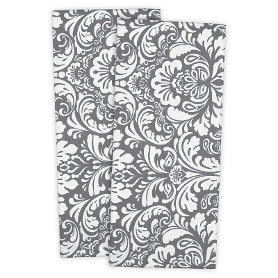 Damask Dishtowels Set Of 2 Gray - Design Imports
