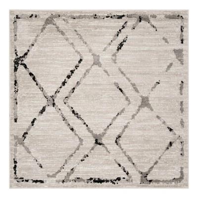 Ivory/Gray Geometric Loomed Square Area Rug 6'7 X6'7  - Safavieh