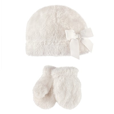 Hudson Baby Infant and Toddler Girl Sherpa Hat and Mitten Set 2pc
