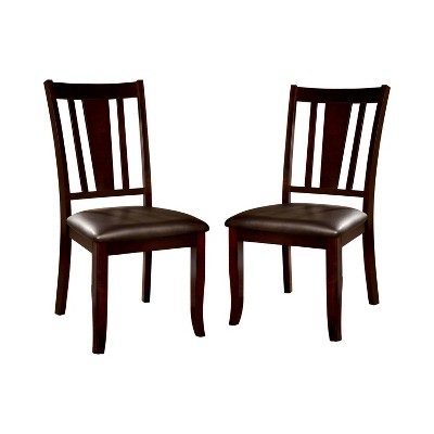 Set of 2 GlaivewoodBarred Back Leatherette Padded Side Chair Espresso - HOMES: Inside + Out