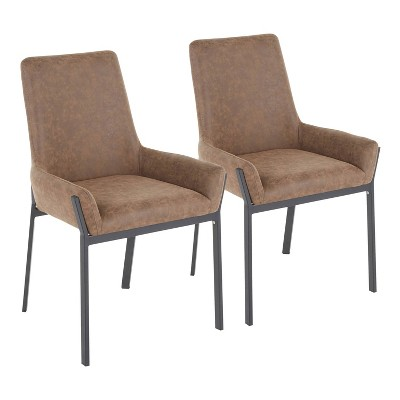 Set of 2 Odessa Contemporary Dining Chairs Black/Brown - LumiSource