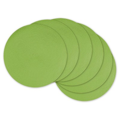 Lime Round Woven Placemats (Set Of 6)- Design Imports