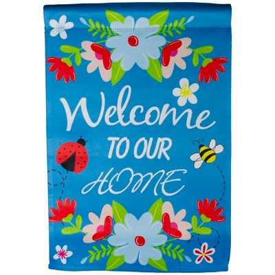 "Northlight Blue ""Welcome to Our House"" Outdoor Garden Flag 12.5"" x 18"""