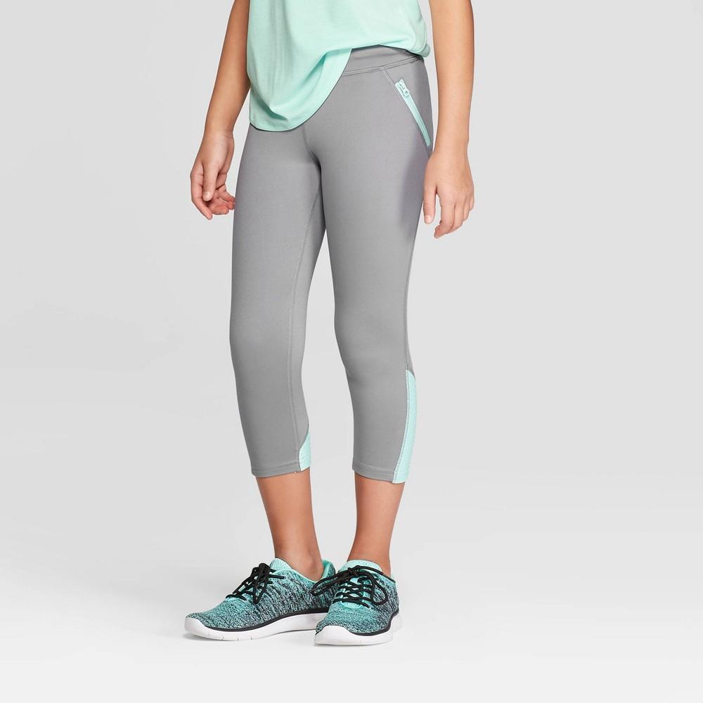 Girls' Laser Cut Premium Capri Leggings - C9 Champion Gray XL