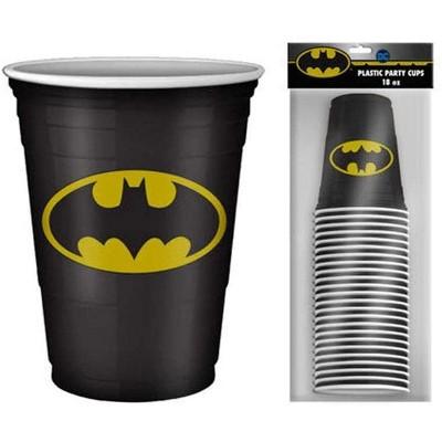 Silver Buffalo DC Comics Batman Logo 18oz Disposable Plastic Party Cups   20 Pack