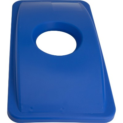 Genuine Joe Recycle Bin Lid w/ Round Hole 23-Gallon Blue 98219