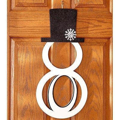 Lakeside Monogram Snowman Holiday Door Hanger - Christmas Décor with Initial