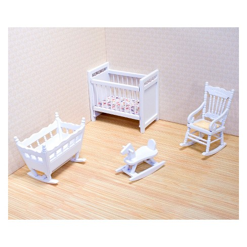Melissa Doug Clic Wooden Dollhouse Nursery Furniture 4pc Crib Basinette Rocker Rocking Horse