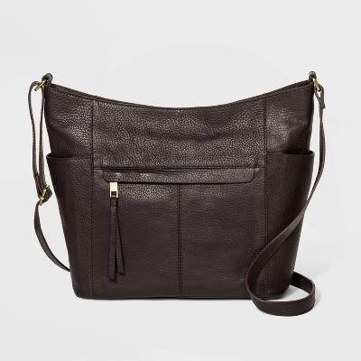 Bolo Zip Closure Pebble Shoulder Bag - Chocolate