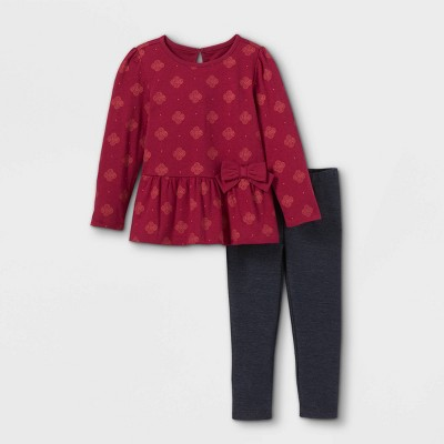 Toddler Girls' 2pc Geo Long Sleeve Top & Leggings Set - Just One You® made by carter's Maroon/Black