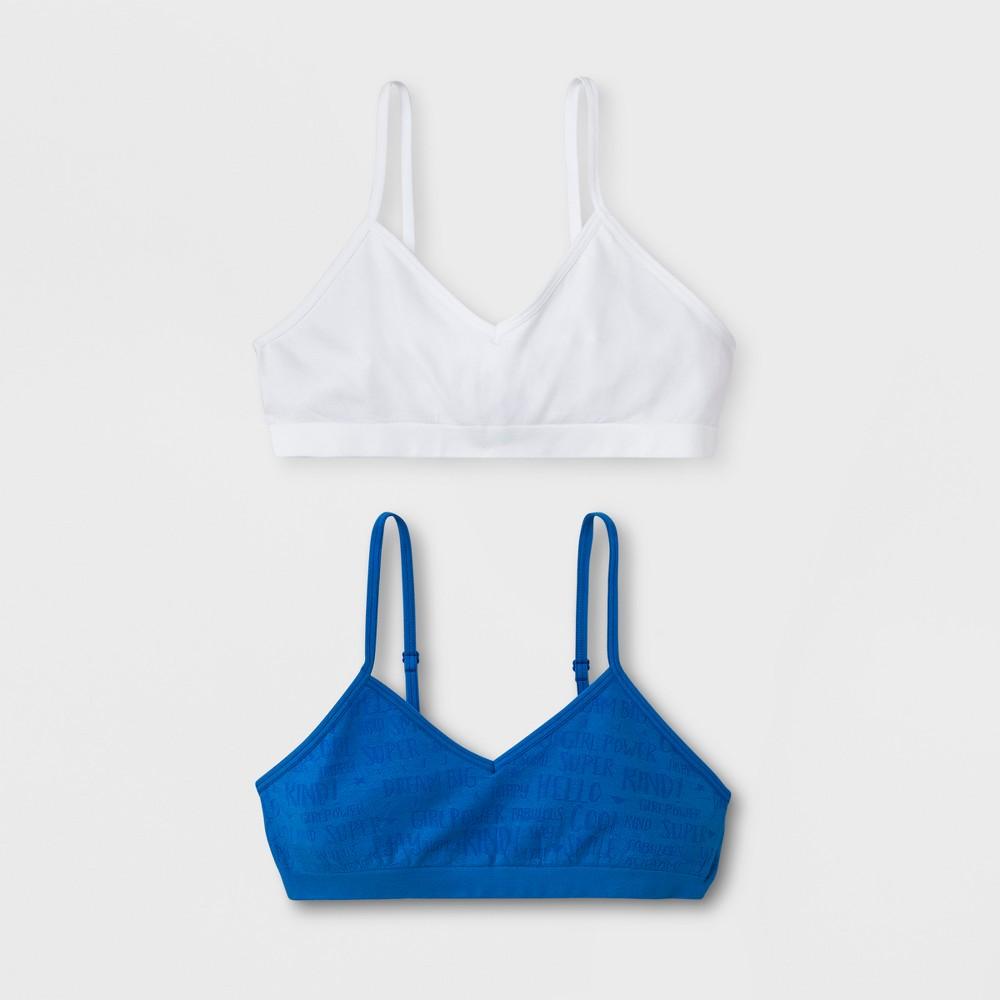 Girls' 2pk Seamless Bra - Cat & Jack Blue/White XL