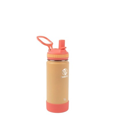 Takeya 16oz Actives Insulated Stainless Steel Kids' Water Bottle with Straw Lid - Coral